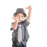 Portrait of blond boy wearing a hat Stock Photos