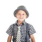 Portrait of blond boy wearing a hat Royalty Free Stock Images