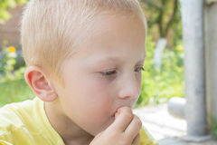 Portrait of blond boy. Portrait blond boy who eats with his hands Stock Image