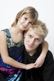 Portrait of blond brother and little sister Stock Photo