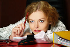Portrait of blond business girl Royalty Free Stock Photos