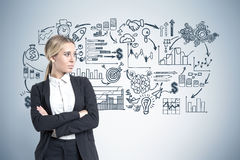 Portrait of a blond businesswoman standing with crossed arms near a gray wall. Stock Image