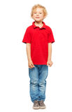 Portrait of blond curly-haired boy in polo shirt Stock Photos