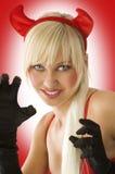 Portrait of blond devil Stock Photo