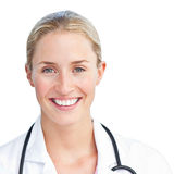 Portrait of blond doctor holding a stethoscope Stock Photo