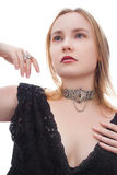Portrait. Of a blond female model wearing a necklace and a ring Stock Photos