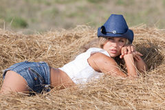 Portrait of blond girl in hat Royalty Free Stock Photography