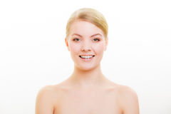 Portrait blond girl with natural makeup royalty free stock photo