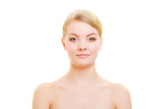 Portrait blond girl with natural makeup isolated Royalty Free Stock Photos