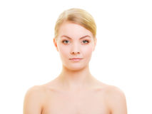 Portrait blond girl with natural makeup isolated Royalty Free Stock Photography