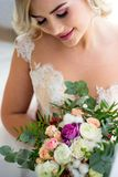 Portrait of a blond girl in a negligee stock photo