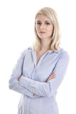Portrait of a blond isolated young business woman in blue blouse Stock Photos