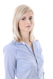 Portrait of a blond isolated young business woman in blue blouse Royalty Free Stock Images
