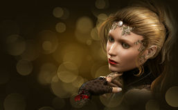 Portrait of a blond Lady, 3d CG. 3d computer graphics of a portrait of a lady with gold jewelry and evening makeup Stock Image