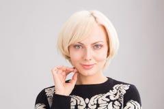 Portrait of blond lady in studio Stock Photos