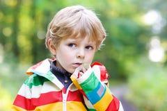 Portrait of blond little preschool  boy in Royalty Free Stock Photo