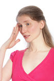 Headache. Portrait of blond middle aged woman with headache Royalty Free Stock Photo