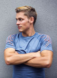 Portrait of blond sportsman looking to the side Royalty Free Stock Photo