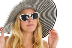 Portrait blond woman at beach Royalty Free Stock Photography