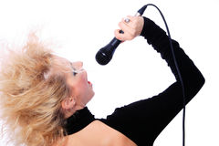 Portrait of blond woman singing Royalty Free Stock Image