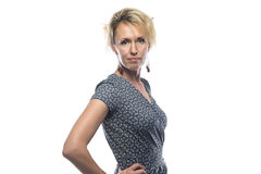 Portrait of blond woman on white background Royalty Free Stock Photo