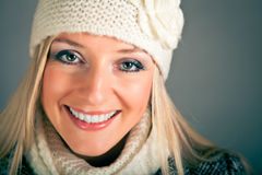 Portrait of blond woman in winter clothes Stock Photography