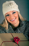 Portrait of blond woman in winter clothes Royalty Free Stock Images