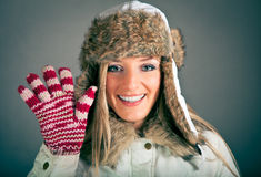 Portrait of blond woman in winter clothes Royalty Free Stock Photography
