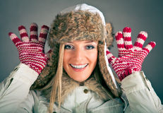 Portrait of blond woman in winter clothes Royalty Free Stock Image