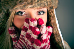 Portrait of blond woman in winter clothes Stock Photo