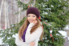 Portrait of blond young woman in winter Stock Photos