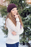 Portrait of blond young woman in winter Royalty Free Stock Photos