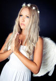 Portrait of a blonde in Angel costume Stock Photo
