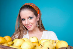 Portrait of blonde with apples Royalty Free Stock Photography
