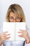 Portrait blonde with a book Royalty Free Stock Images