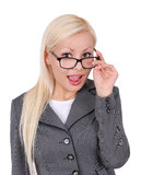 Portrait of blonde business woman in glasses Royalty Free Stock Image