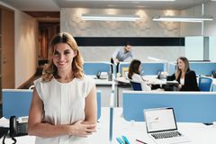 Portrait Of Blonde Business Woman Manager In Coworking Office Space royalty free stock photos