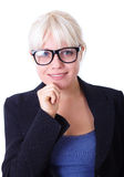 Portrait of blonde businesswoman in glasses. Portrait of young blonde businesswoman in glasses, isolated on white Royalty Free Stock Photos