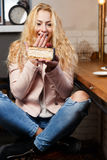 Portrait of blonde in cafe Royalty Free Stock Images