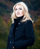 Portrait of a Blonde in Coat Stock Photos
