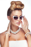 Portrait of blonde elegant woman. Stock Photos