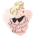 Portrait of blonde elegant woman  - Simplicity is the new black  Royalty Free Stock Photos