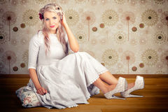 Portrait Of Blonde Girl With Classic Fashion Style Royalty Free Stock Photo