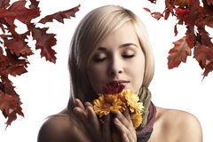 Portrait of a blonde girl with closed eyes Stock Photo