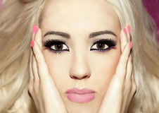 Portrait blonde girl long straight hair beautiful makeup clear s Stock Images