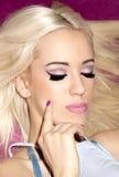 Portrait blonde girl long straight hair beautiful makeup clear s Stock Photos