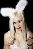 Portrait blonde girl long straight hair beautiful makeup clear s Royalty Free Stock Photos