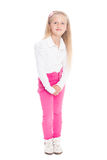 Portrait of blonde girl in pink jeans Stock Images
