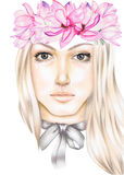 Portrait of a blonde girl with a pink magnolias wreath on her head and bow on her neck. Hand-drawn with colored pencils and watercolor on a white background Royalty Free Stock Images