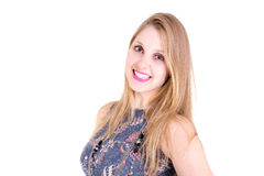 Portrait of a blonde girl smiling on white background Royalty Free Stock Images